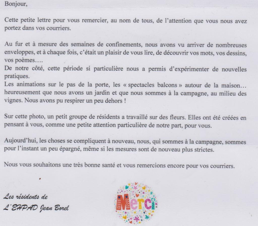lettre de remerciement provenant des résidents de l'EPADH J.Borel du 15 novembre